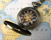 Antique Bronze Pocket Watch with Pocket Watch Chain - Roman Mechanical -Groomsmen Gift - Best Man - Steampunk Victorian Era - Item MPW06