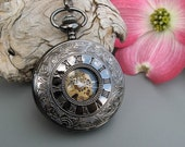 Engraved Black Pocket Watch, Elegant Mechanical Pocket Watch includes Watch Chain - Groomsmen Gift - Engravable - Item MPW152