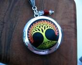 Red Fire Tree of Life Silver Locket Necklace, Enamel, Silver Locket, Red Coral, Quartz Crystal, Swarovski