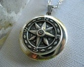 Silver Compass Locket Necklace - Antique Silver Compass - Photo Locket - Silver Cable Chain - Sale