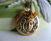 Bronze Cameo Locket - Art Nouveau Photo Locket - Amber Czech Glass, Antiqued Brass Chain