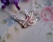 Swallow Bird Necklace, Sterling Silver Swallow Pendant