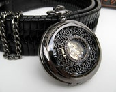Filigree Pocket Watch, Antique Style Black Roman Mechanical Pocket Watch - Groomsmen - Steampunk Victorian Era - Watch - Item MPW161