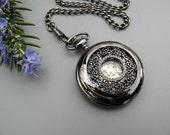 Pocket Watch - Black Roman Mechanical Pocket Watch with Watch Chain - Steampunk - Men - Groomsmen Gift - Watch - Item MPW161