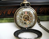 Premium Victorian Engravable Bronze Mechanical Pocket Watch includes Watch Chain - Groomsmen - Men - Steampunk - Watch - Item MPW248