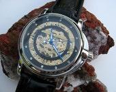 Luxury Skeleton Mechanical Wrist Watch with Black Leather Wristband - Automatic - Steampunk - Men - Watch - Item MWA379