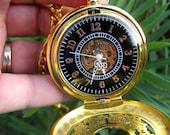 Vintage Estate Style Gold Mechanical Pocket Watch, Pocket Watch Chain - Steampunk Victorian Era - Groom - Best Man - Groomsmen - MPW111