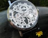 Silvertone Mechanical Wrist Watch with Bonded Black Leather Wristband, Steampunk, Groomsmen - Item MWA385-BL