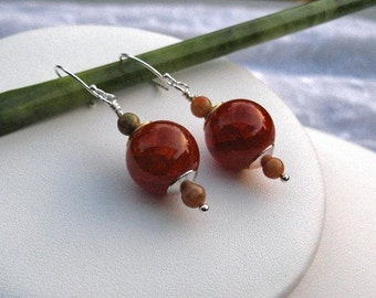 Red Fire Agate and Mookaite Jasper Earrings on sterling silver earring wires