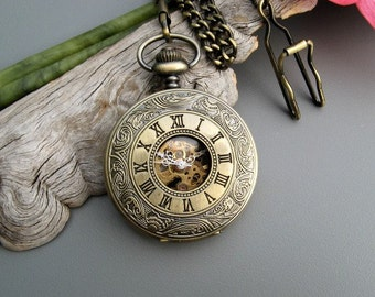 Antique Bronze Pocket Watch, Watch Chain, Mechanical Watch, Black Dial, Copper Roman numerals, Engravable - Item MPW06