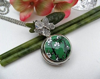 18th Century Antique Style Cherry Blossom Butterfly Watch Necklace - Watch Necklace - Gift boxed - Add on Engraving Service available