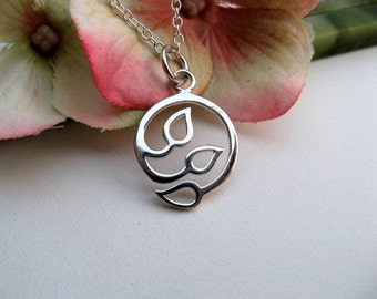 Sterling Silver Leaf Necklace - Three Leaf Sterling Silver Pendant - Leaf Symbol of Happiness