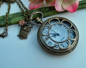 Antique Bronze Floral Pocket Watch Locket Pendant with Cute Owl Charm and Peach Czech Glass Flower Necklace