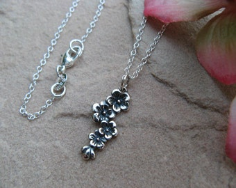 Cherry Blossom Sterling Silver Necklace - Sterling Silver Jewelry