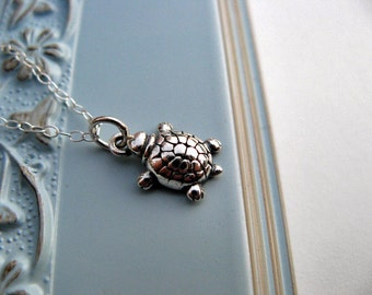 Sterling Silver Turtle Necklace, Solid Antiqued Sterling Silver, Sea Turtle Charm Necklace
