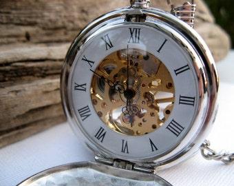 Pocket Watch Engraved Silver Roman Mechanical - Double Cover - Engravable, Groomsmen, Wedding, Men, Victorian Steampunk Era - Item MPW66
