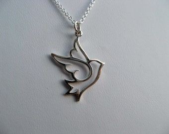 Sterling Silver Dove Necklace - Bird Charm - Peace Dove - Sterling Silver Chain