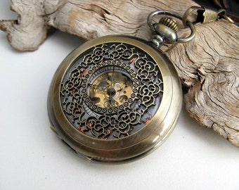 "Antique Bronze Pocket Watch with 15"" Pocket Watch Chain - Steampunk Watch - Gold Arabic - Groomsmen Gift - Engravable - Item MPW640"