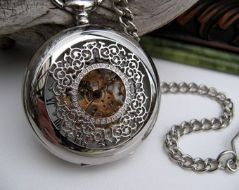 Pocket Watch - Silver Victorian Mechanical Pocket Watch includes Watch Chain - Roman - Steampunk - Groomsmen Gift - Item MPW158rs