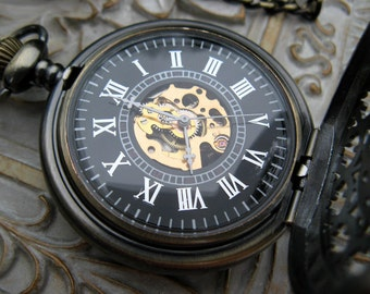 1882's Steampunk Mechanical WatchPocket, Pocket Watch Chain - Steampunk Watch - Groomsmen Gift - Men's Watch - Item MPW151