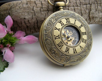Engraved Bronze Pocket Watch, Gift Boxed, Wedding, Groomsmen Gift, Father of the Bride, Engravable, Gift Sets - Item MPW641ac