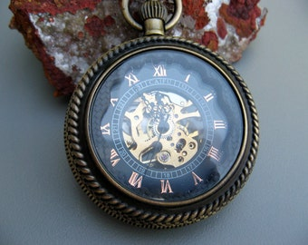 Premium Bronze Pocket Watch with watch chain, Mechanical Watch, Magnifying Cover, Gift Boxed- Item MPW110