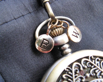 1pc Personalized Bronze Letter Charm Disk - Alphabet Charm - Pocket Watch Stamped Letter Disk - Groomsmen - Item SBD A-Z