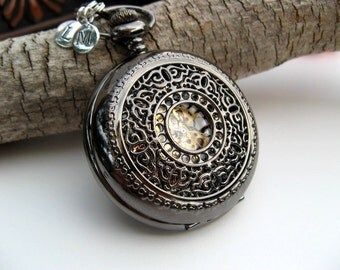 Victorian Black Pocket Watch, Groomsmen's Gift, Men's watch, Watch,  (Engraving service and charms sold separately) - Item MPW704