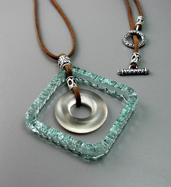 Jewelry - Sea Green and Grey Goose Vodka Recycled Bottle Lip Glass Pendant