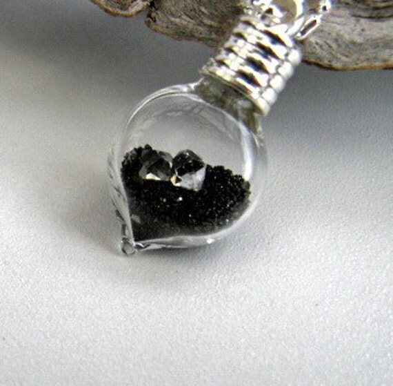 Two AAA Herkimer Diamonds, Sparkling Black Gold Mine Sand, Blown Glass Vial Necklace (Med Vial) - Sterling Silver Chain
