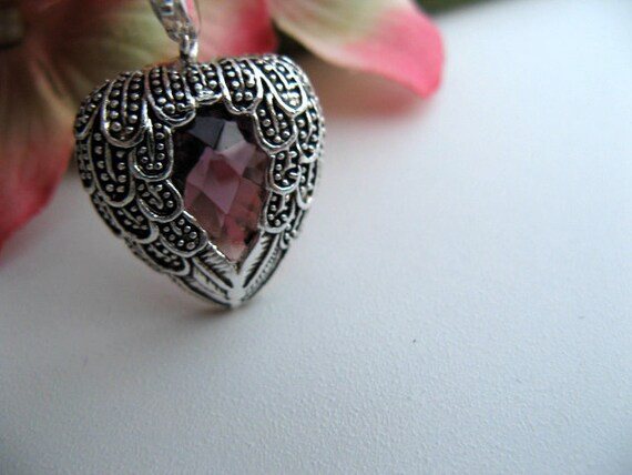Sale - Heavenly Angel Wing Necklace in Sterling Silver with Faceted Amethyst and Sterling Silver Chain