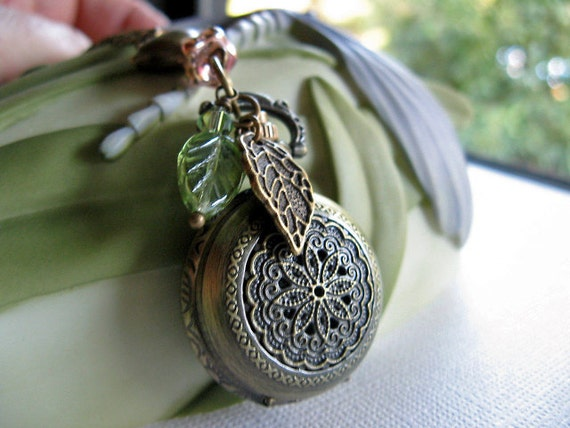 Love Bird Pocket Watch Necklace - Victorian Lace Antique Bronze - Czech Glass Leaf and Flower Charms