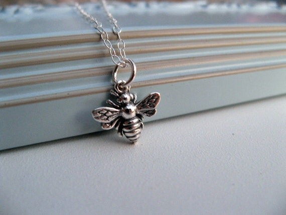 Take Flight - Honey Bee Necklace, Sterling Silver Necklace, Honeybee Bumble Bee Charm Necklace