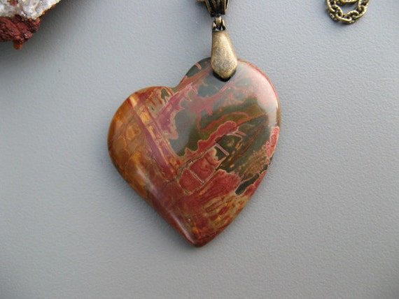 Picasso Jasper Gemstone Pendant with Bronze Cable Chain Necklace