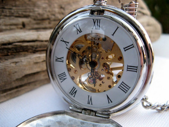 Pocket watch engraved silver roman mechanical double cover for Watches engraved