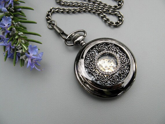 Pocket Watch - Black Roman Mechanical Pocket Watch with Watch Chain - Steampunk - Men - Groomsmen Gift - Watch - Item MPW161