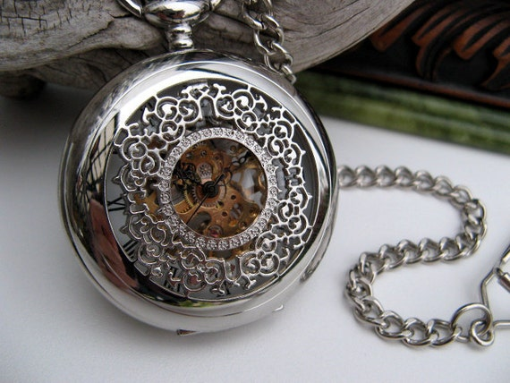 Pocket Watch - Silver Filigree Roman Mechanical Pocket Watch with Watch Chain, Groom - Best Man - Groomsmen Gift - Item MPW158r