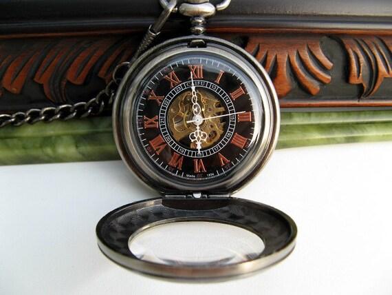 Antique Silver Gunmetal Engravable Pocket Watch, Mechanical 17 Jewel, Pocket Watch Chain - Groom - Groomsmen Gift - Watch - Item MPW45