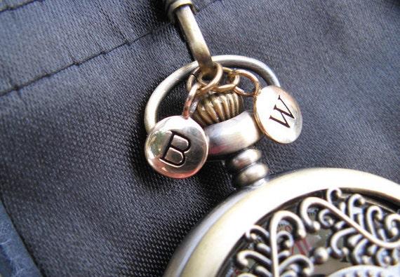 1pc Bronze Letter Charm - Personalized Alphabet Charm - Bronze Pocket Watch Letter Charm - Charm - Item SBD A-Z