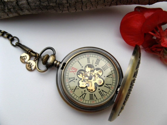 Personalized Bronze Mechanical Pocket Watch, Pocket Watch Chain - 2 Bronze Letter Charms - Groomsmen Gift - Item MPW662-SBCC