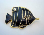 Vintage Fish Brooch, Black Enamel Fish Brooch with Gold Trim & Glass Pearl Nautical Vintage Jewelry Jewellery