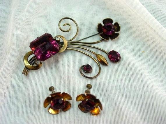 Sterling & Amethyst Rhinestone Demi, Huge Amethyst Rhinestone Sterling Silver Flower Demi Parure Brooch Earrings Vintage Jewelry Jewellery