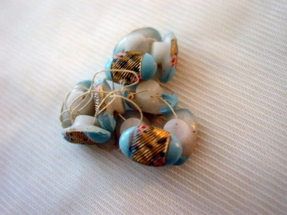 Vintage Blue Buttons,10 Vintage Painted Robins Egg Blue Glass Buttons Supplies Repurpose or Collect