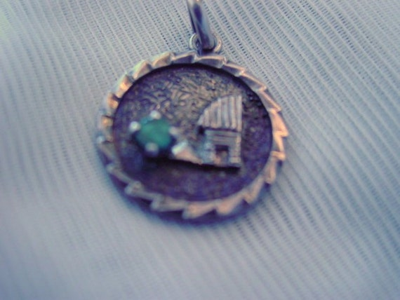 Vintage Large Sterling Silver charm Pendant House with Green Stone Vintage Jewelry Jewellery