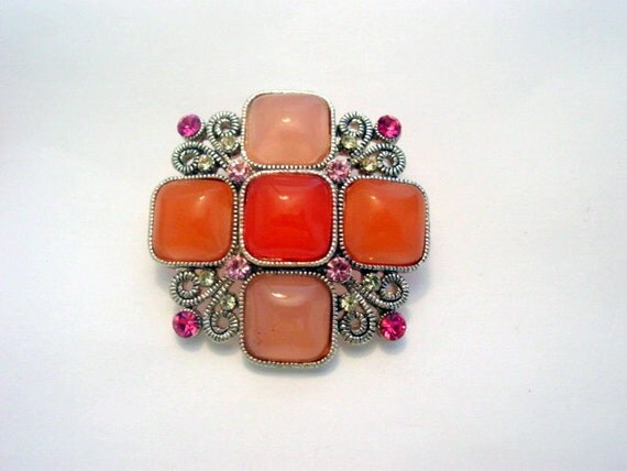 Vintage Rhinestone Brooch or Pendant Faux Gems in Soft Mauve and Pink Vintage Jewelry Jewellery