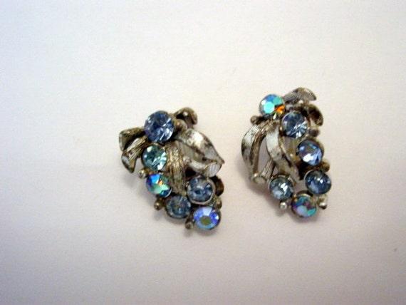 Vintage Blue Rhinestone Earrings Signed Designer Charel Leaf Clip On Earrings vintage jewelry