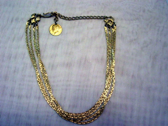 Vintage Multi Strand Bib Necklace Gold Tone Chains with Coin Dangle Vintage Jewelry Jewellery