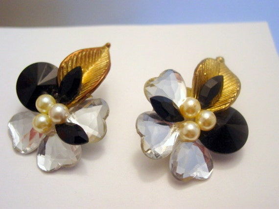 Vintage 1980s Earrings, Big Dynasty Style Acrylic clip on Earrings Black, Clear and Gold Vintage Jewelry Costume Jewellery