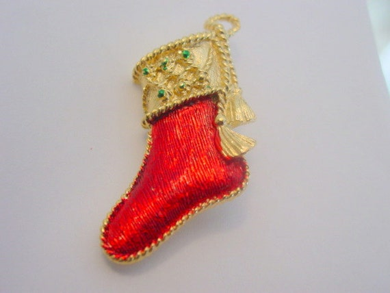 Vintage Christmas Stocking Brooch Gerrys Signed Designer xmas Stocking Pin Gold Tone Vintage Costume Jewelry Jewellery