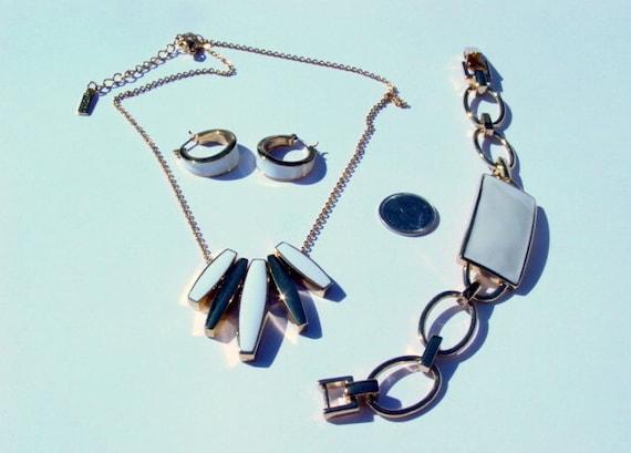 Vintage Napier Parure, Signed Designer Gold Tone & White Enamel Necklace, Bracelet and Pierced Earrings Vintage Jewelry Jewellery